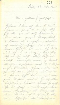 Brief von Major Eberhard Graf Wolffskeel, 12. Oktober 1915