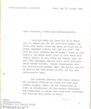 Brief Konrad Adenauers an Theodor Heuss (1960)